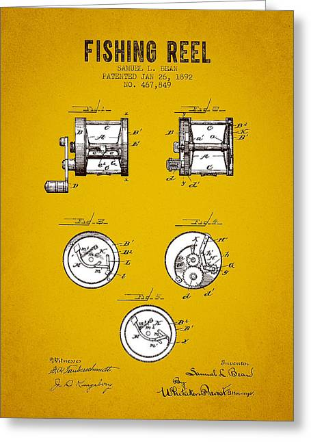 Tackle Greeting Cards - 1892 Fishing Reel Patent - Yellow Brown Greeting Card by Aged Pixel