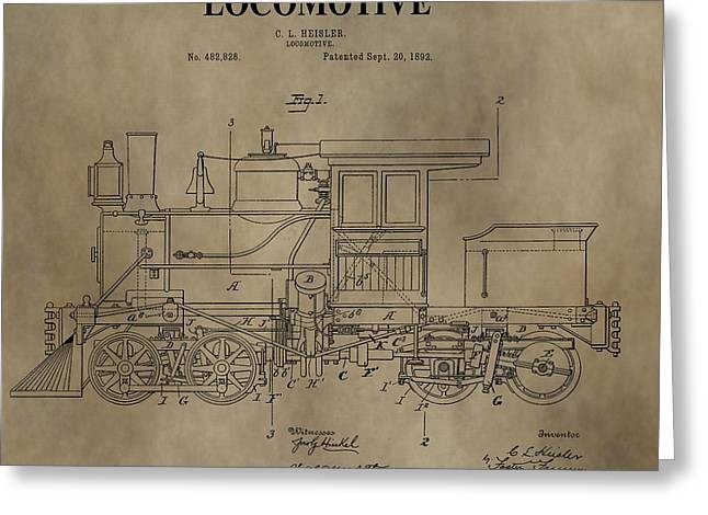 Caboose Digital Greeting Cards - 1892 Locomotive Patent Greeting Card by Dan Sproul