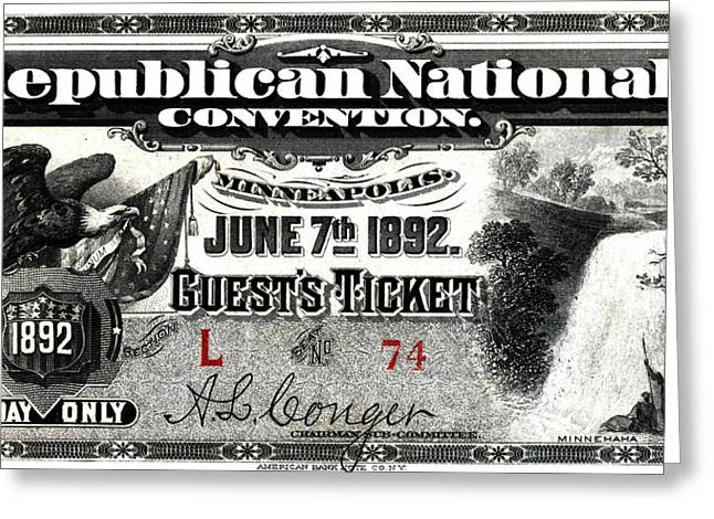 American Conservative Party Greeting Cards - 1892 Republican Convention Ticket Greeting Card by Historic Image