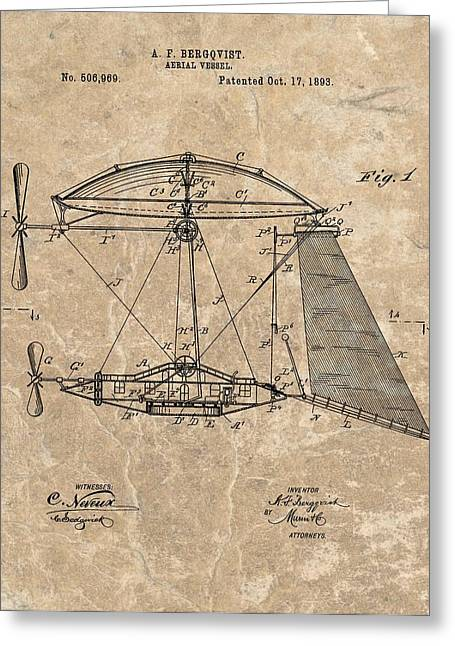 Jet Mixed Media Greeting Cards - 1893 Aerial Vessel Patent Greeting Card by Dan Sproul