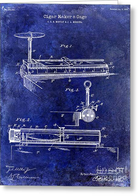 Cigar Greeting Cards - 1893 Cigar Makers Gage Patent Drawing Blue Greeting Card by Jon Neidert