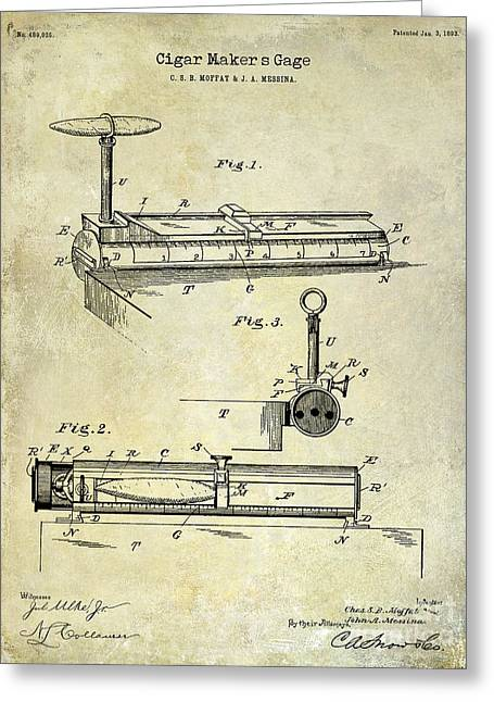 Cigar Greeting Cards - 1893 Cigar Makers Gage Patent Drawing  Greeting Card by Jon Neidert