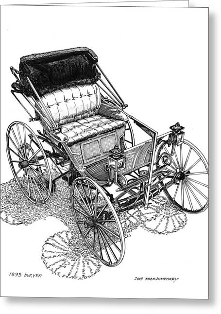 First Lady Drawings Greeting Cards - 1893 Duryea Motorwagon Greeting Card by Jack Pumphrey