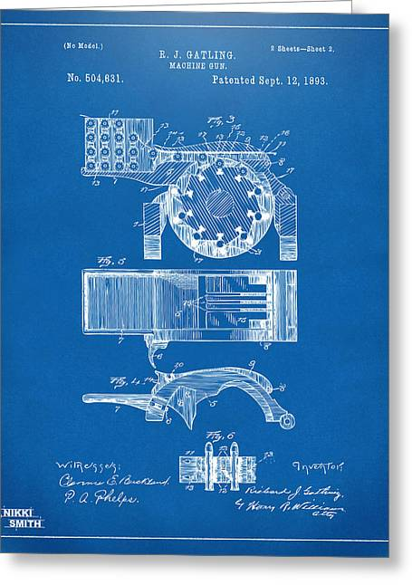 Gift For Greeting Cards - 1893 Gatling Machine Gun Feed Patent Artwork - Blueprint Greeting Card by Nikki Marie Smith