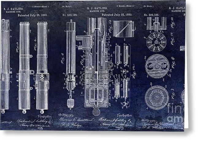 1893 Greeting Cards - 1893 Gatling Machine Gun Patent Drawing Blue Greeting Card by Jon Neidert
