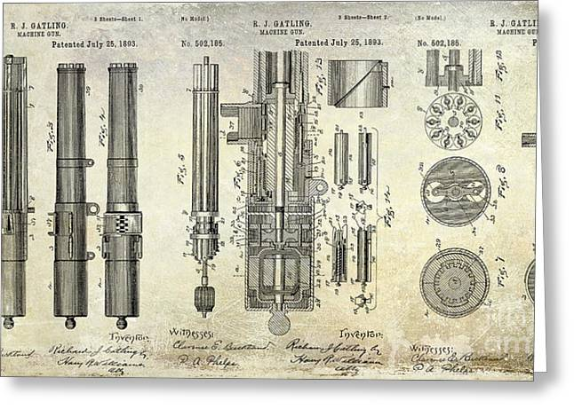 1893 Greeting Cards - 1893 Gatling Machine Gun Patent Drawing Greeting Card by Jon Neidert