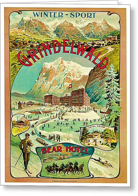 Old Country Roads Mixed Media Greeting Cards - 1893 Grindelwald Vintage Travel Art Greeting Card by Presented By American Classic Art