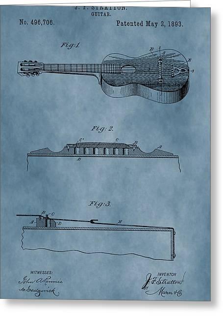 Guitar Body Greeting Cards - 1893 Guitar Patent Greeting Card by Dan Sproul
