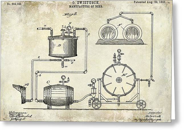 1893 Manufacture Of Beer Patent Drawing Greeting Card by Jon Neidert