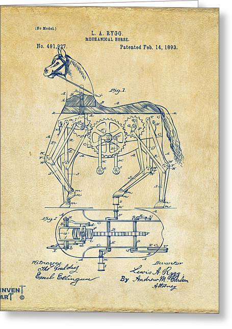 Vintage Bicycle Greeting Cards - 1893 Mechanical Horse Toy Patent Artwork Vintage Greeting Card by Nikki Marie Smith