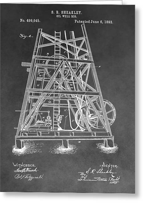 Crisis Mixed Media Greeting Cards - 1893 Oil Rig Patent Greeting Card by Dan Sproul