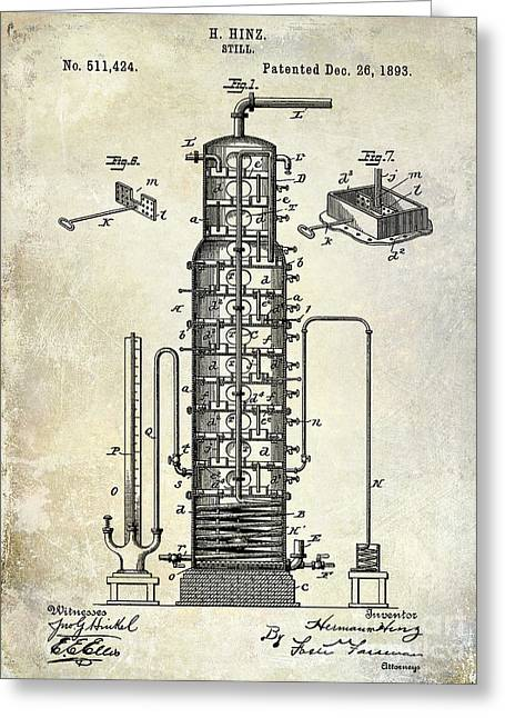 1893 Greeting Cards - 1893 Still Patent Drawing Greeting Card by Jon Neidert