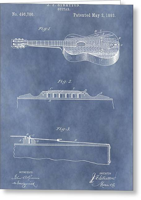 Guitar Body Greeting Cards - 1893 Stratton Guitar Patent Greeting Card by Dan Sproul