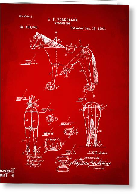 Vintage Bicycle Greeting Cards - 1893 Velocipede Horse-Bike Patent Artwork Red Greeting Card by Nikki Marie Smith