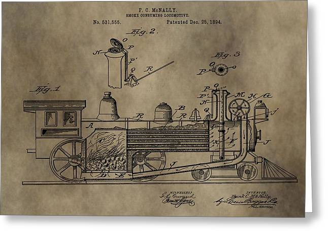 Caboose Digital Greeting Cards - 1894 Locomotive Patent Greeting Card by Dan Sproul