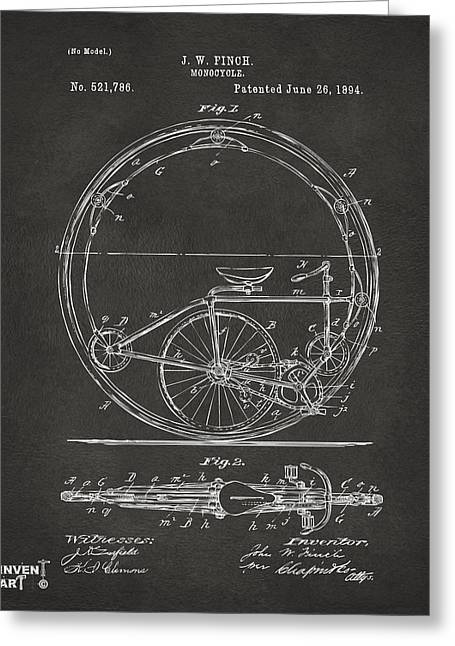 Vintage Bicycle Greeting Cards - 1894 Monocycle Patent Artwork Gray Greeting Card by Nikki Marie Smith