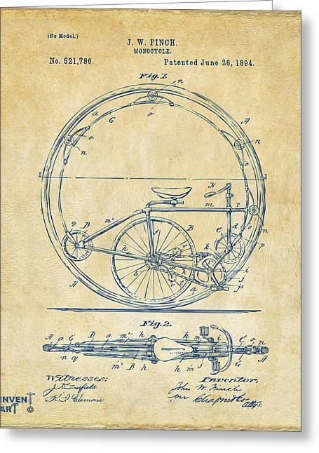 Leisure Digital Greeting Cards - 1894 Monocycle Patent Artwork Vintage Greeting Card by Nikki Marie Smith