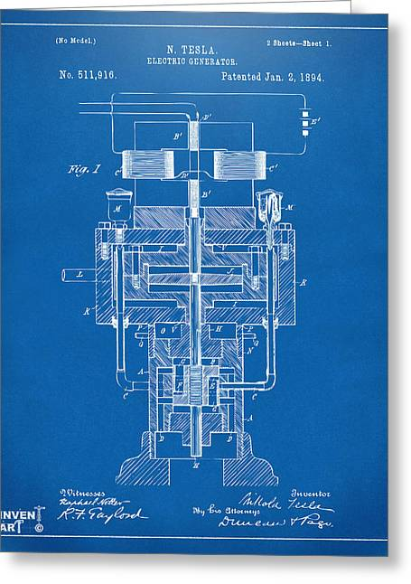 Generators Greeting Cards - 1894 Tesla Electric Generator Patent Blueprint Greeting Card by Nikki Marie Smith