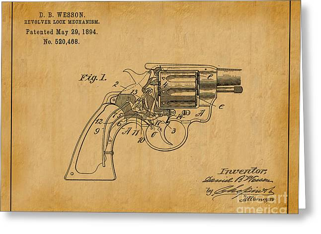 Mechanism Greeting Cards - 1894 Wesson Revolver Lock Mechanism Patent Art 1 Greeting Card by Nishanth Gopinathan