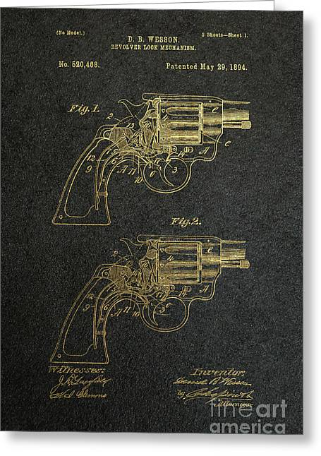 Gunmetal Greeting Cards - 1894 Wesson Revolver Lock Mechanism Patent Art 2 Greeting Card by Nishanth Gopinathan