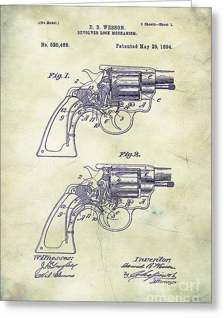 Mechanism Greeting Cards - 1894 Wesson Revolver Lock Mechanism Patent Art 3 Greeting Card by Nishanth Gopinathan