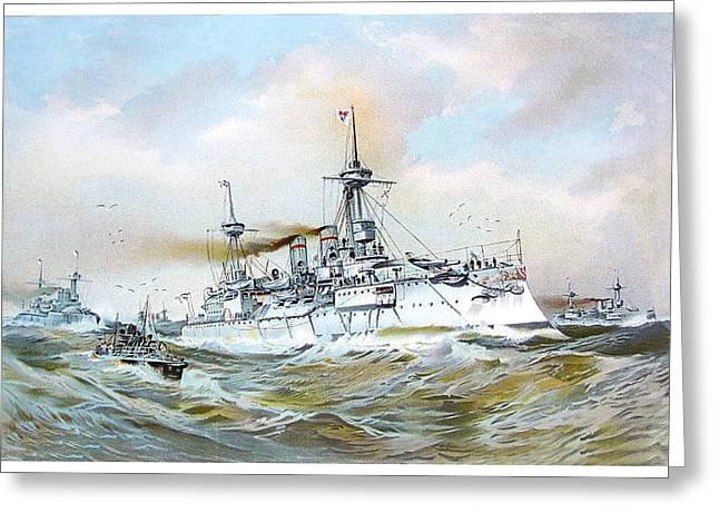 Brandenburg Digital Art Greeting Cards - 1895 - The Brandenburg Squadron at Sea - Color Greeting Card by John Madison