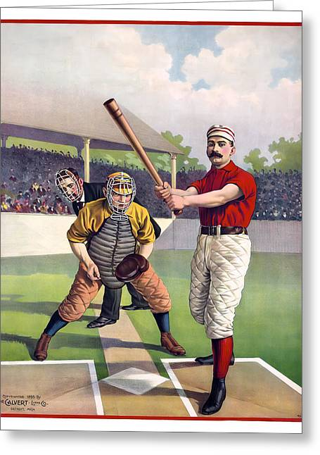 Slam Photographs Greeting Cards - 1895 Batter Up At Home Plate Greeting Card by Daniel Hagerman