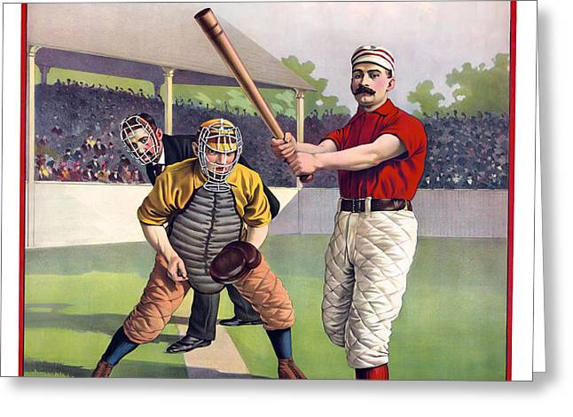 1895 BATTER UP AT HOME PLATE Greeting Card by Daniel Hagerman