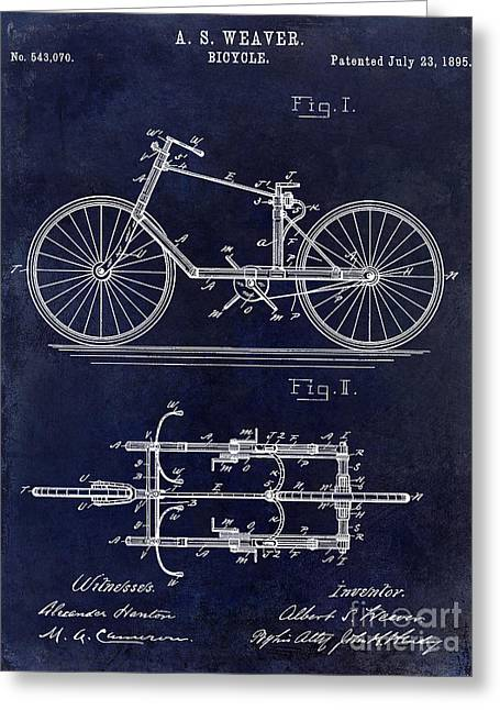 Dales Greeting Cards - 1895 Bicycle Patent Drawing Blue Greeting Card by Jon Neidert