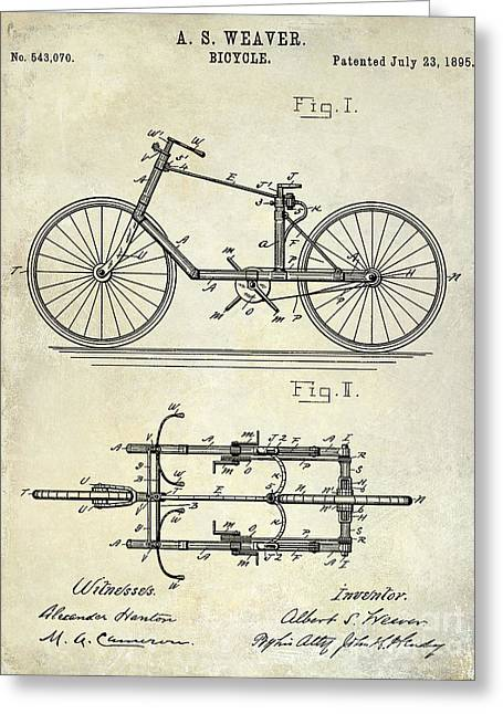 Vintage Bicycle Greeting Cards - 1895 Bicycle Patent Drawing  Greeting Card by Jon Neidert