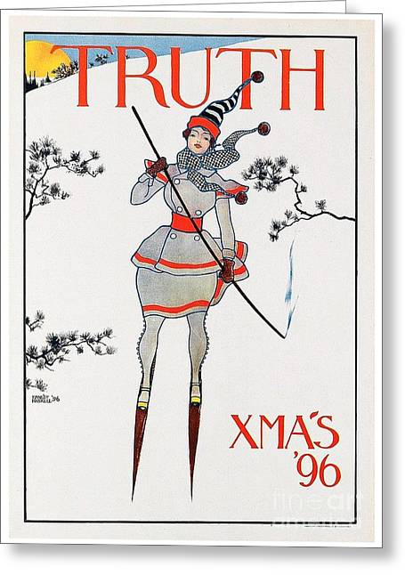 Skiing Posters Digital Art Greeting Cards - 1896 - Truth Magazine - Christmas Issue - Advertisement Poster - Color Greeting Card by John Madison