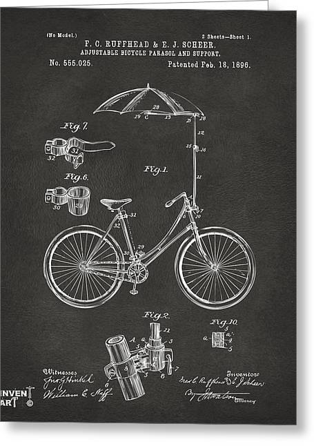 Vintage Bicycle Greeting Cards - 1896 Bicycle Parasol Patent Artwork Gray Greeting Card by Nikki Marie Smith