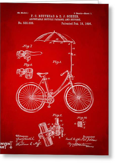 Vintage Bicycle Greeting Cards - 1896 Bicycle Parasol Patent Artwork Red Greeting Card by Nikki Marie Smith