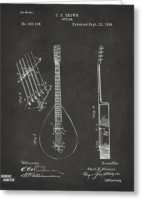 Gift For Greeting Cards - 1896 Brown Guitar Patent Artwork - Gray Greeting Card by Nikki Marie Smith