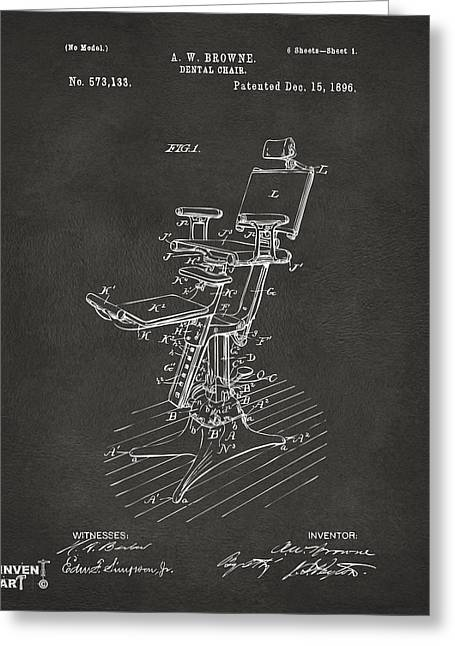 Negro Digital Greeting Cards - 1896 Dental Chair Patent Gray Greeting Card by Nikki Marie Smith