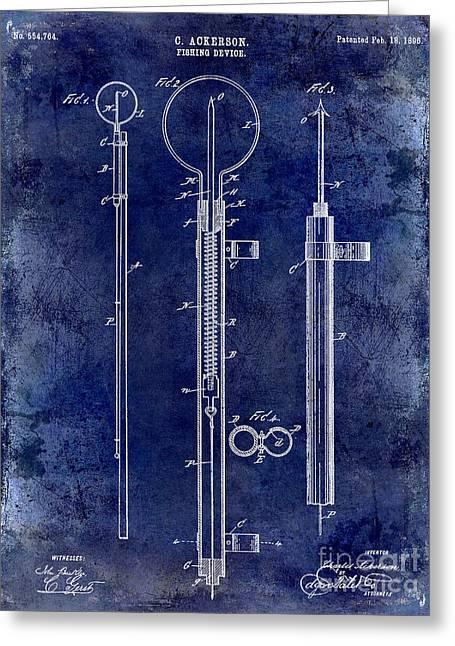 Port Fish Greeting Cards - 1896 Fishing Device Patent Drawing Blue Greeting Card by Jon Neidert