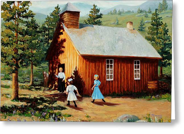 School Days Greeting Cards - 1896 School house Greeting Card by Mary Giacomini