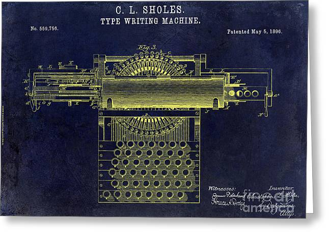 Reporter Greeting Cards - 1896 Type Writer Patent Drawing Blue Greeting Card by Jon Neidert