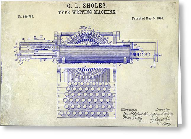 Reporter Greeting Cards - 1896 Type Writer Patent Drawing Greeting Card by Jon Neidert