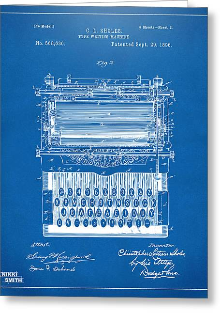 Typist Greeting Cards - 1896 Type Writing Machine Patent Artwork - Blueprint Greeting Card by Nikki Marie Smith