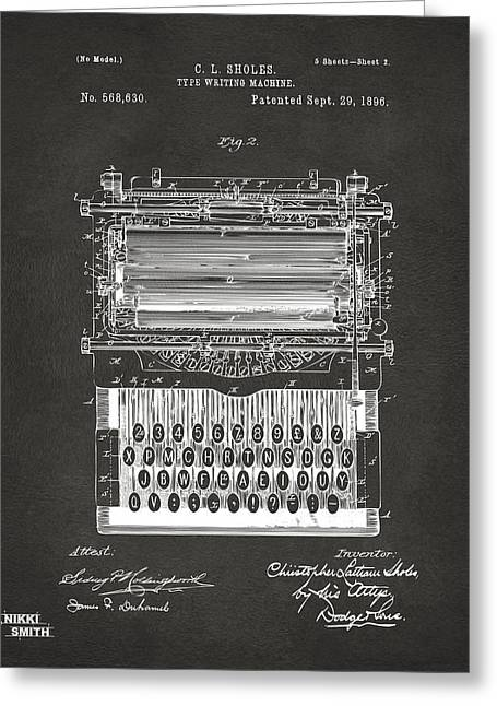 1896 Type Writing Machine Patent Artwork - Gray Greeting Card by Nikki Marie Smith