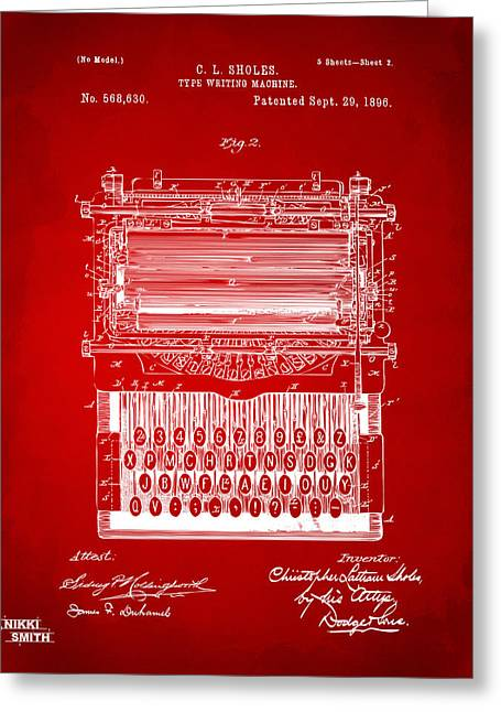 Line Art Greeting Cards - 1896 Type Writing Machine Patent Artwork - Red Greeting Card by Nikki Marie Smith