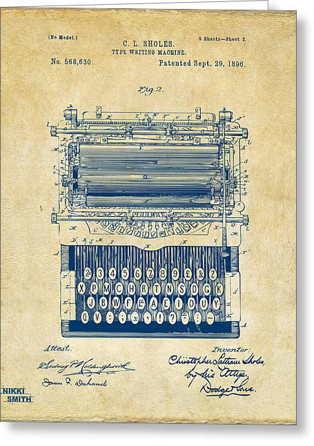 Typing Greeting Cards - 1896 Type Writing Machine Patent Artwork - Vintage Greeting Card by Nikki Marie Smith
