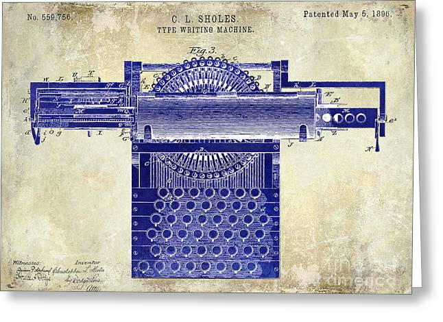 Typewriter Greeting Cards - 1896 Type Writing Machine Patent Drawing Two Tone Greeting Card by Jon Neidert