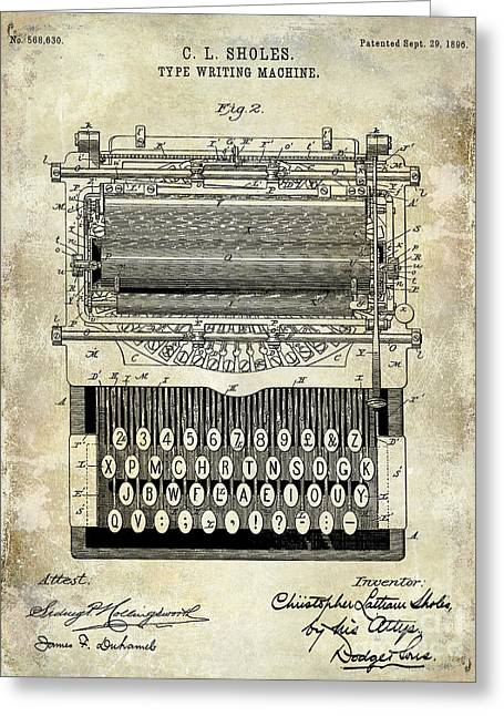 Typewriter Greeting Cards - 1896 Type Writing Machine Patent Greeting Card by Jon Neidert