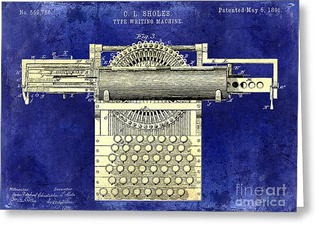 Reporter Greeting Cards - 1896 Type Writing Machine Patent Two Tone Greeting Card by Jon Neidert