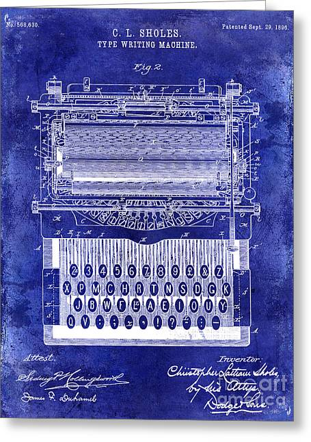 Reporter Greeting Cards - 1896 Typewriting Machine Patent Blue Greeting Card by Jon Neidert