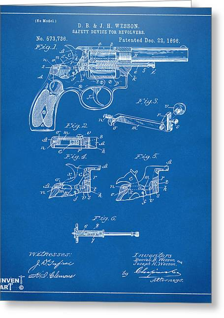 Fire Arm Greeting Cards - 1896 Wesson Safety Device Revolver Patent Artwork - Blueprint Greeting Card by Nikki Marie Smith