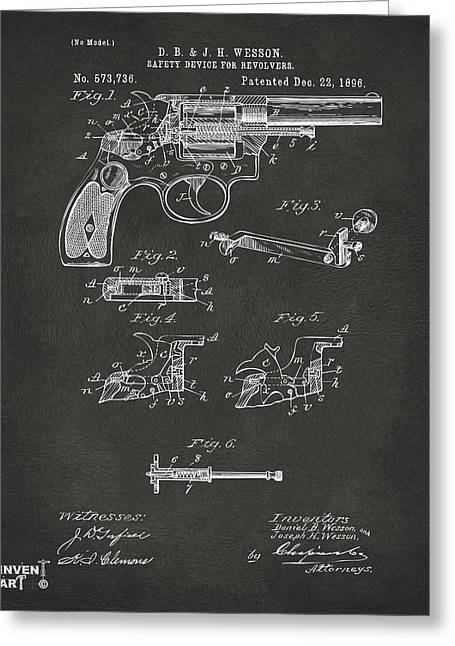 Fire Arm Greeting Cards - 1896 Wesson Safety Device Revolver Patent Artwork - Gray Greeting Card by Nikki Marie Smith