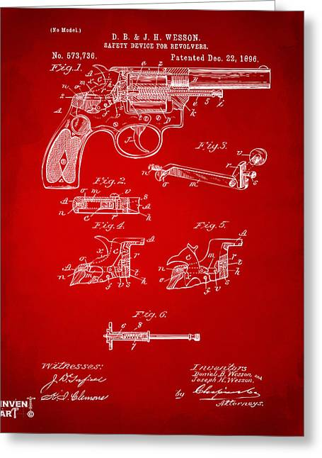 Fire Arm Greeting Cards - 1896 Wesson Safety Device Revolver Patent Artwork - Red Greeting Card by Nikki Marie Smith